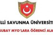 Milli Savunma Üniversitesi MYO'lara Öğrenci Alım İlanı Yayınlandı