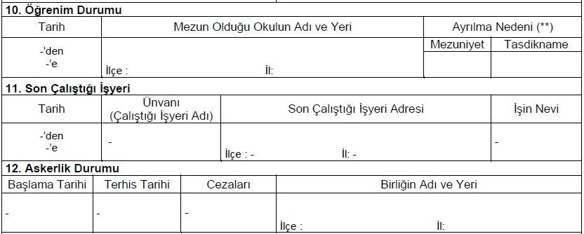 Güvenlik Soruşturması Arşiv Formu 3
