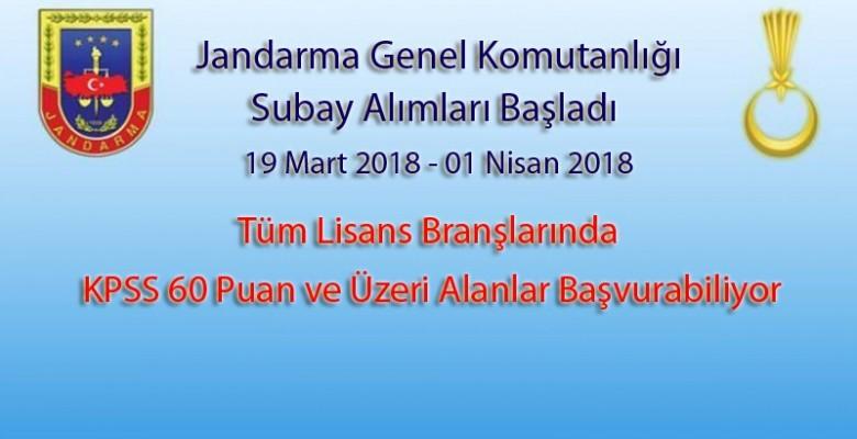 2018 Jandarma Subay Alımları   Tüm Branşlar   KPSS 60