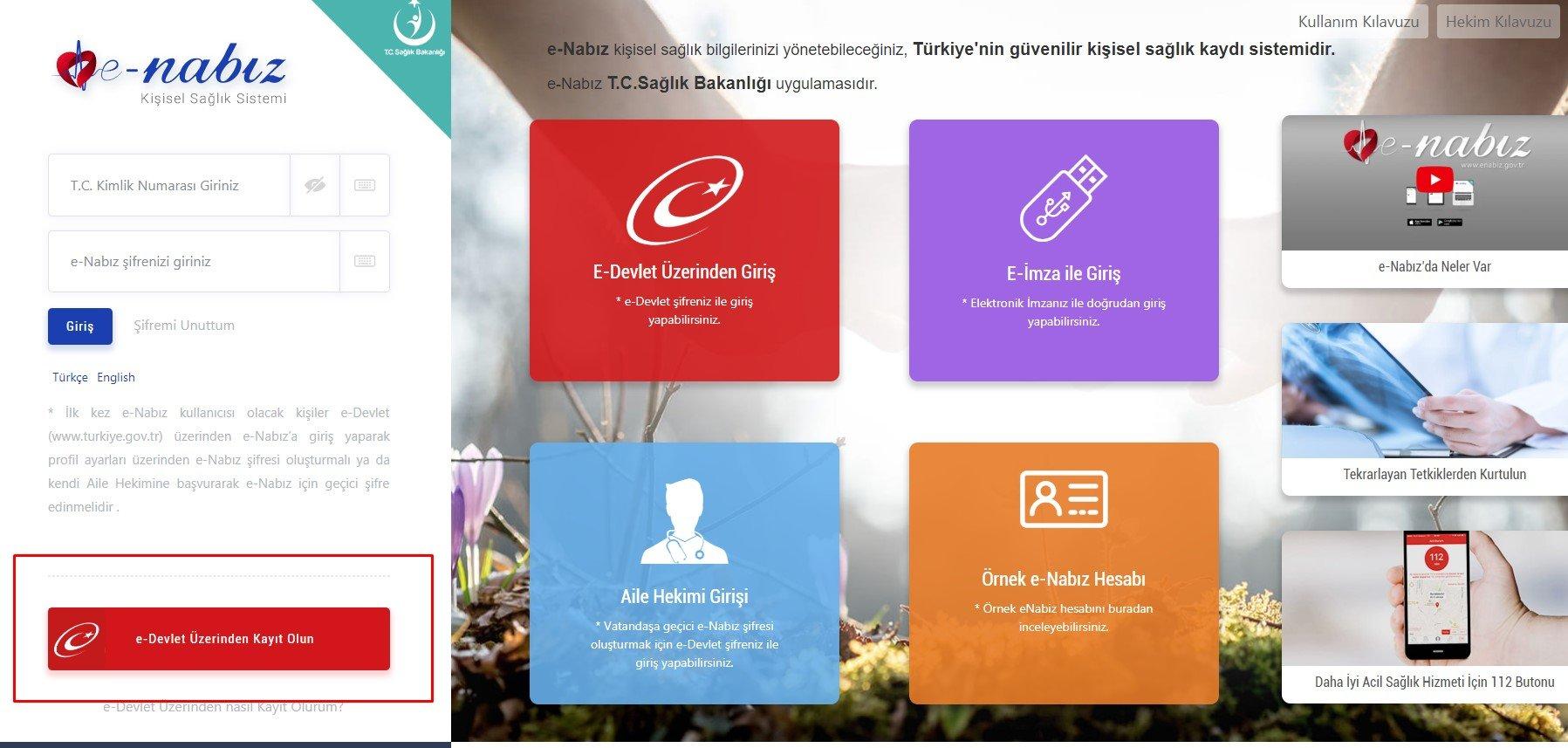 e-devlet kayıt e-nabız